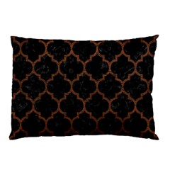 Tile1 Black Marble & Dull Brown Leather (r) Pillow Case by trendistuff
