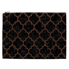 Tile1 Black Marble & Dull Brown Leather (r) Cosmetic Bag (xxl)  by trendistuff