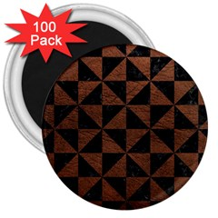 Triangle1 Black Marble & Dull Brown Leather 3  Magnets (100 Pack) by trendistuff