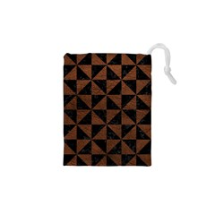 Triangle1 Black Marble & Dull Brown Leather Drawstring Pouches (xs)  by trendistuff