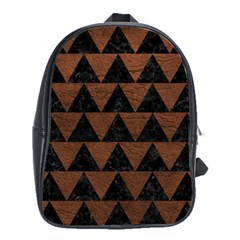 Triangle2 Black Marble & Dull Brown Leather School Bag (xl) by trendistuff