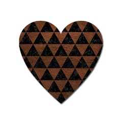 Triangle3 Black Marble & Dull Brown Leather Heart Magnet by trendistuff