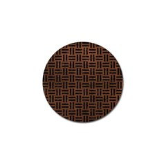 Woven1 Black Marble & Dull Brown Leather Golf Ball Marker (4 Pack) by trendistuff
