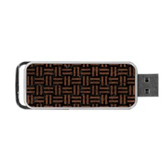 Woven1 Black Marble & Dull Brown Leather (r) Portable Usb Flash (two Sides) by trendistuff