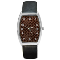Woven2 Black Marble & Dull Brown Leather Barrel Style Metal Watch by trendistuff