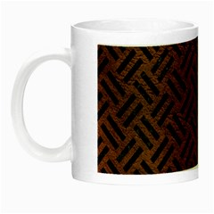 Woven2 Black Marble & Dull Brown Leather Night Luminous Mugs by trendistuff
