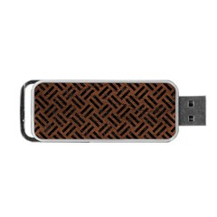 Woven2 Black Marble & Dull Brown Leather Portable Usb Flash (two Sides) by trendistuff