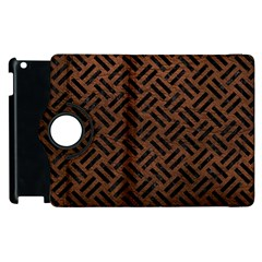 Woven2 Black Marble & Dull Brown Leather Apple Ipad 3/4 Flip 360 Case by trendistuff