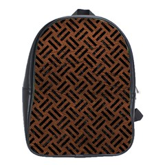 Woven2 Black Marble & Dull Brown Leather School Bag (xl) by trendistuff