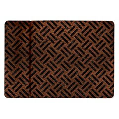 Woven2 Black Marble & Dull Brown Leather Samsung Galaxy Tab 10 1  P7500 Flip Case by trendistuff