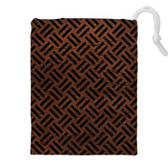 Woven2 Black Marble & Dull Brown Leather Drawstring Pouches (xxl) by trendistuff