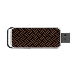 Woven2 Black Marble & Dull Brown Leather (r) Portable Usb Flash (two Sides) by trendistuff