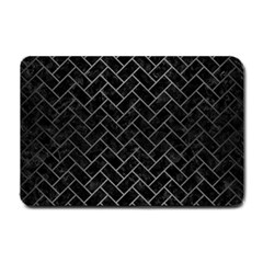 Brick2 Black Marble & Gray Brushed Metal (r) Small Doormat  by trendistuff