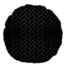 Brick2 Black Marble & Gray Brushed Metal (r) Large 18  Premium Flano Round Cushions by trendistuff