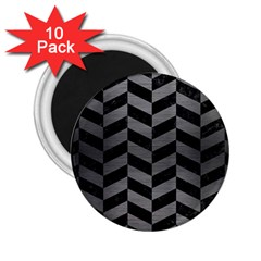 Chevron1 Black Marble & Gray Brushed Metal 2 25  Magnets (10 Pack)  by trendistuff