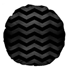 Chevron3 Black Marble & Gray Brushed Metal Large 18  Premium Flano Round Cushions by trendistuff