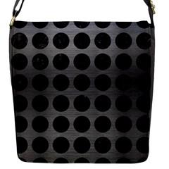 Circles1 Black Marble & Gray Brushed Metal Flap Messenger Bag (s) by trendistuff