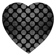 Circles2 Black Marble & Gray Brushed Metal (r) Jigsaw Puzzle (heart) by trendistuff