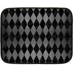 Diamond1 Black Marble & Gray Brushed Metal Fleece Blanket (mini) by trendistuff