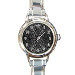 Damask2 Black Marble & Gray Brushed Metal Round Italian Charm Watch by trendistuff