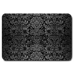 Damask2 Black Marble & Gray Brushed Metal (r) Large Doormat  by trendistuff