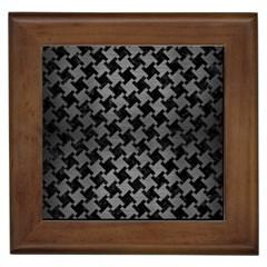Houndstooth2 Black Marble & Gray Brushed Metal Framed Tiles by trendistuff