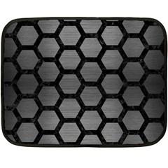 Hexagon2 Black Marble & Gray Brushed Metal Fleece Blanket (mini) by trendistuff
