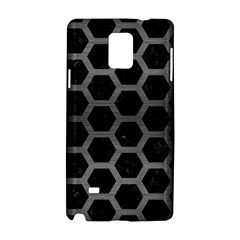 Hexagon2 Black Marble & Gray Brushed Metal (r) Samsung Galaxy Note 4 Hardshell Case by trendistuff