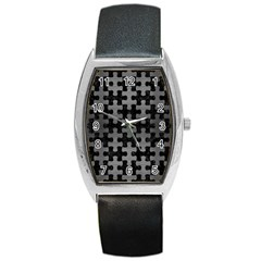 Puzzle1 Black Marble & Gray Brushed Metal Barrel Style Metal Watch by trendistuff