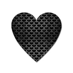 Scales3 Black Marble & Gray Brushed Metal (r) Heart Magnet by trendistuff