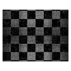 Square1 Black Marble & Gray Brushed Metal Rectangular Jigsaw Puzzl by trendistuff