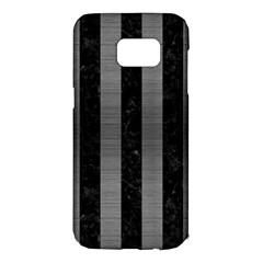 Stripes1 Black Marble & Gray Brushed Metal Samsung Galaxy S7 Edge Hardshell Case by trendistuff