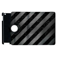 Stripes3 Black Marble & Gray Brushed Metal (r) Apple Ipad 2 Flip 360 Case by trendistuff