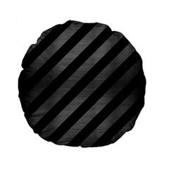 Stripes3 Black Marble & Gray Brushed Metal (r) Standard 15  Premium Flano Round Cushions by trendistuff