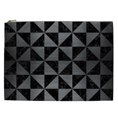 Triangle1 Black Marble & Gray Brushed Metal Cosmetic Bag (xxl)  by trendistuff