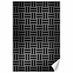Woven1 Black Marble & Gray Brushed Metal Canvas 24  X 36  by trendistuff