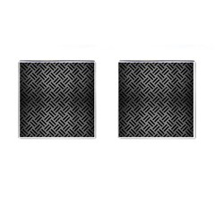 Woven2 Black Marble & Gray Brushed Metal Cufflinks (square) by trendistuff