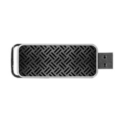 Woven2 Black Marble & Gray Brushed Metal Portable Usb Flash (two Sides) by trendistuff
