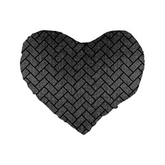 Brick2 Black Marble & Gray Denim Standard 16  Premium Heart Shape Cushions by trendistuff