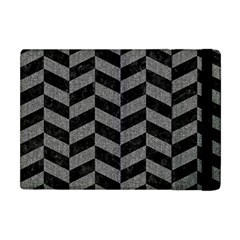 Chevron1 Black Marble & Gray Denim Apple Ipad Mini Flip Case by trendistuff