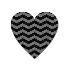 Chevron3 Black Marble & Gray Denim Heart Magnet by trendistuff
