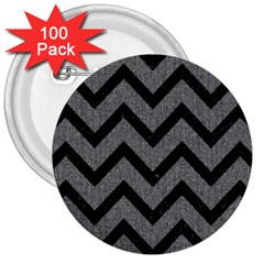 Chevron9 Black Marble & Gray Denim 3  Buttons (100 Pack)  by trendistuff
