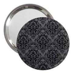 Damask1 Black Marble & Gray Denim 3  Handbag Mirrors by trendistuff