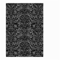 Damask2 Black Marble & Gray Denim Small Garden Flag (two Sides) by trendistuff