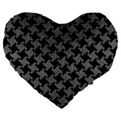 Houndstooth2 Black Marble & Gray Denim Large 19  Premium Flano Heart Shape Cushions by trendistuff