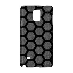 Hexagon2 Black Marble & Gray Denim Samsung Galaxy Note 4 Hardshell Case by trendistuff