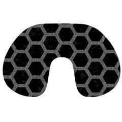 Hexagon2 Black Marble & Gray Denim (r) Travel Neck Pillows by trendistuff