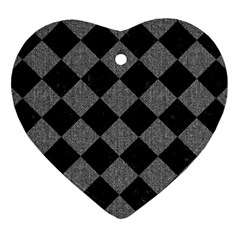 Square2 Black Marble & Gray Denim Heart Ornament (two Sides) by trendistuff