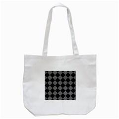 Square2 Black Marble & Gray Denim Tote Bag (white) by trendistuff