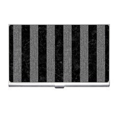 Stripes1 Black Marble & Gray Denim Business Card Holders by trendistuff